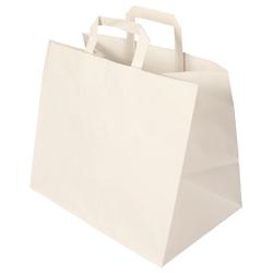 Papier-Tragetasche weiß 32+22x27 cm