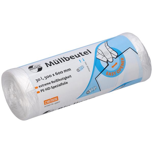 DEISS Universal Plus® Müllbeutel transparent 30 Liter (50 Stück)