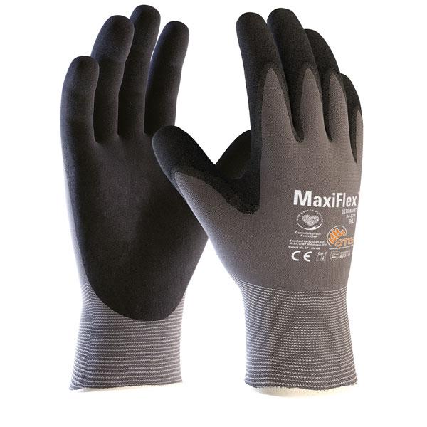 ATG MaxiFlex Ultimate Nylon-Strickhandschuh grau/schwarz Größe 8