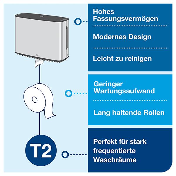 Vorschau: Tork Mini Jumbo Toilettenpapierspender T2 online kaufen - Verwendung 5