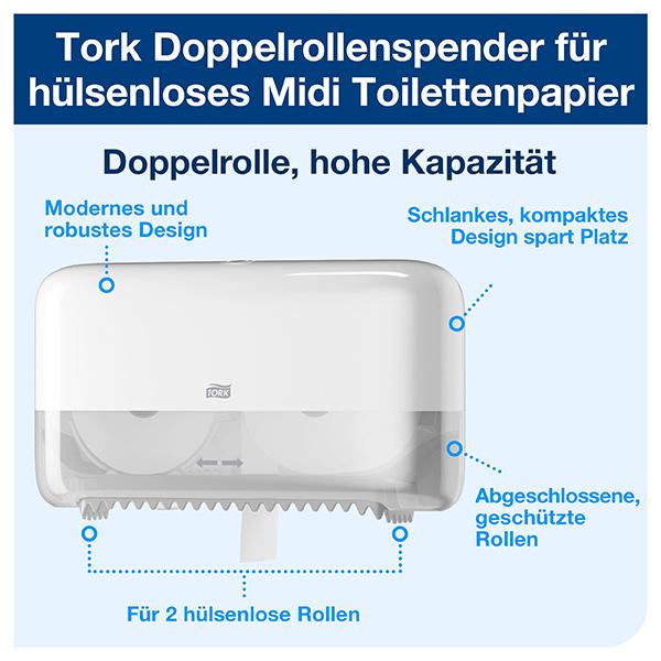 Vorschau: Tork Doppelrollen Toilettenpapierspender T7 online kaufen - Verwendung 2