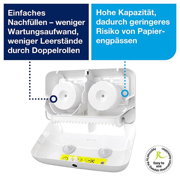 Vorschau: Tork Doppelrollen Toilettenpapierspender T7 online kaufen - Verwendung 5