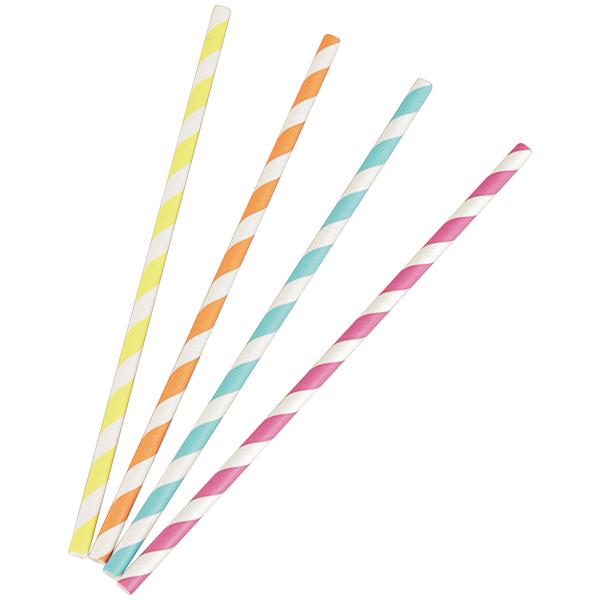 Papiertrinkhalme farbig gemischt - ungehüllt++