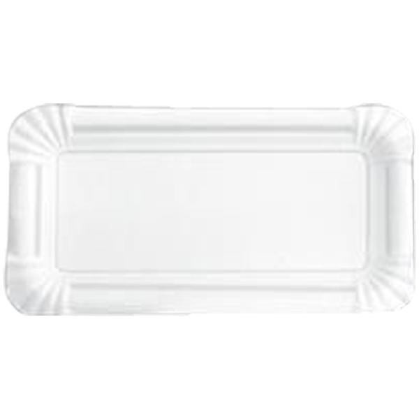 Pappteller eckig 7 x14 cm weiß