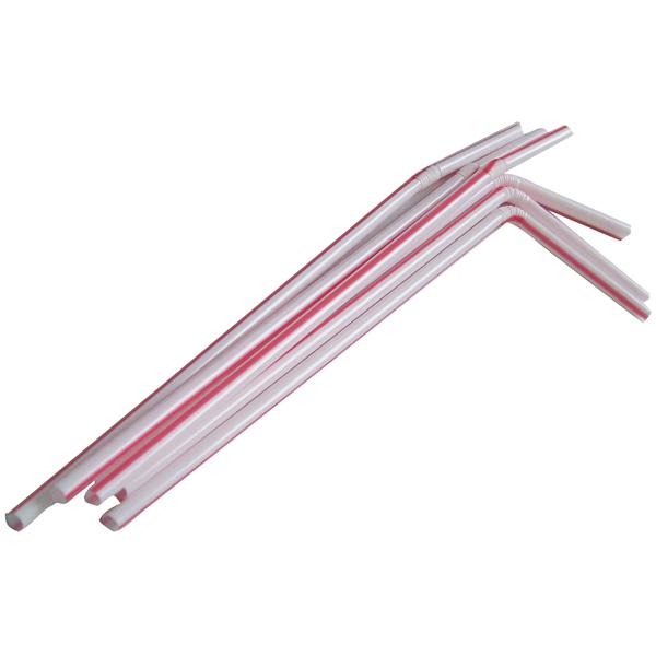 Trinkhalm 24 x 0,5 cm rot-weiß