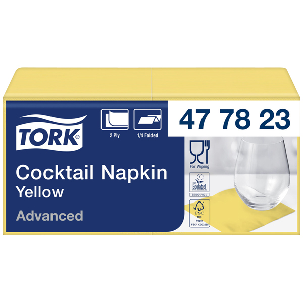 Tork Advanced Tissue-Servietten 24 x 24 cm gelb