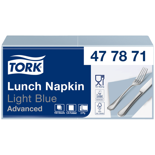 Tork Advanced Soft-Servietten 33 x 33 cm hellblau